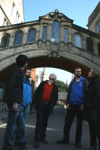Marcus du Sautoy and mathematicians looking at the Bridge of Sighs, Oxford
