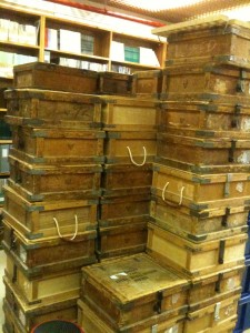 A mountain of book boxes from Rewley House library